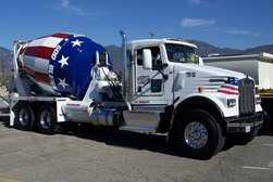 concrete mixer truck with patriotic paint job